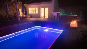 Night shot of the pool at theLAB LIFESTYLE guesthouse